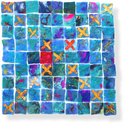 Contemporary abstract textile art by textile artist and feltmaker Mary-Clare Buckle - 'Kiss Kiss'