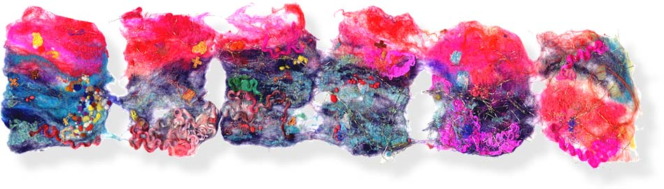 Contemporary abstract textile art by textile artist and feltmaker Mary-Clare Buckle - 'Loose Connections'