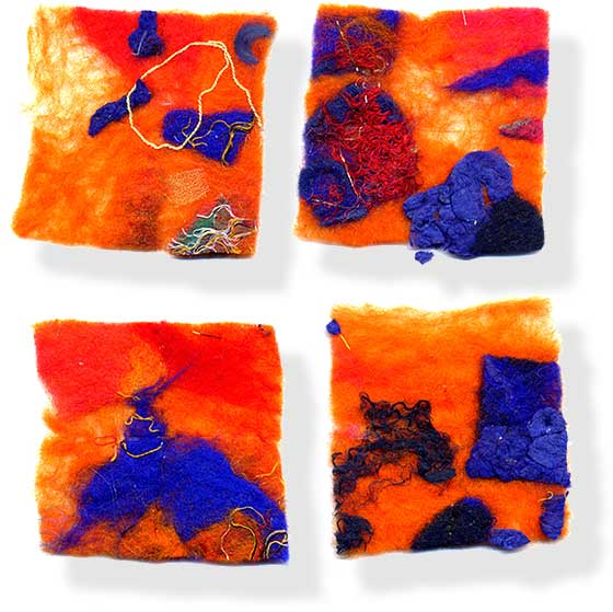 Contemporary abstract fiber art (felt making) by UK textile artist and felt maker Mary-Clare Buckle - 'Beach II'