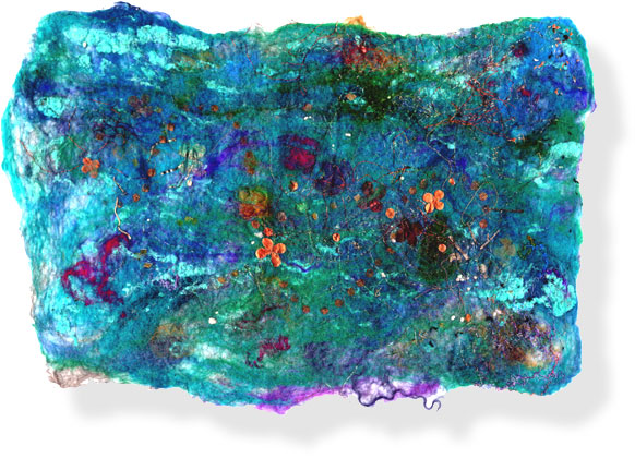 Abstract textile art - 'Underwater Wedding'