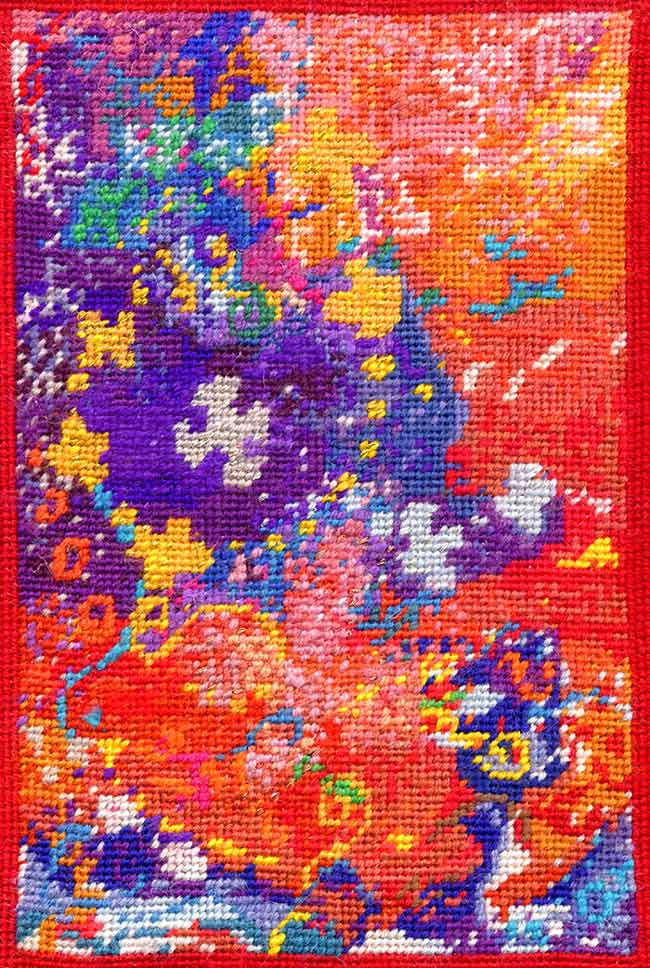 Abstract textile art - 'Dreaming of Jewellery' - kneeler