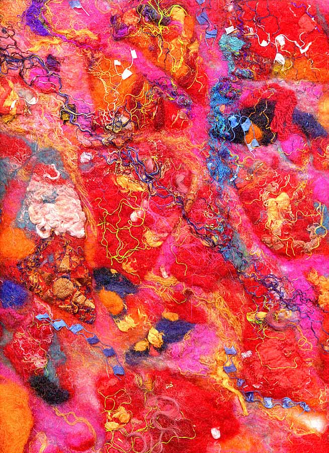 Contemporary abstract textile art by textile artist and feltmaker Mary-Clare Buckle - 'Kaleidoscope' - click here to see an enlarged detail