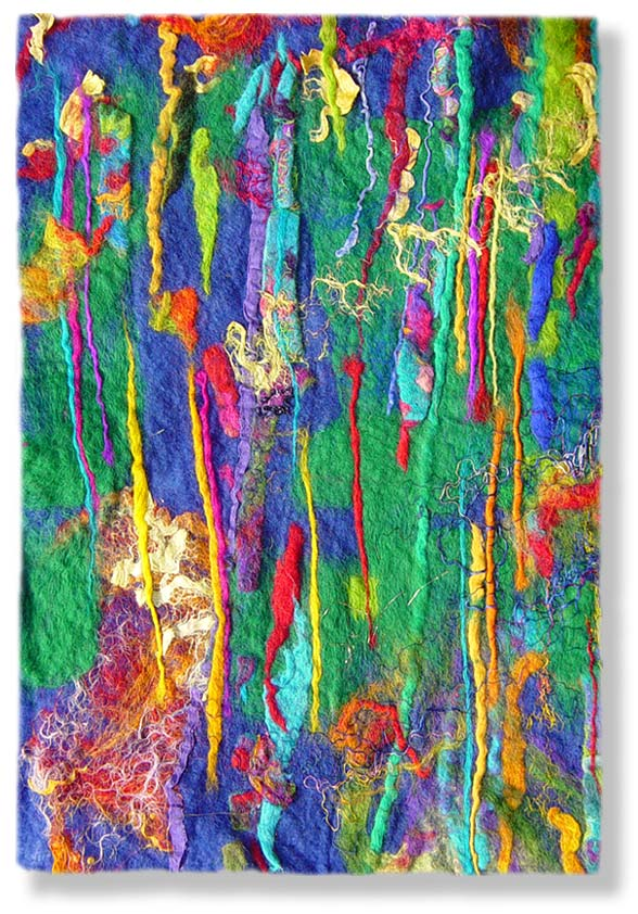Contemporary abstract fiber art by uk textile artist and feltmaker
